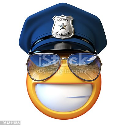 istock Policeman emoji isolated on white background, cop with sunglasses emoticon 961344688