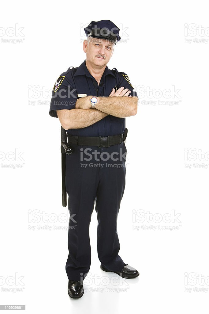 Policeman - Full Body Isolated royalty-free stock photo