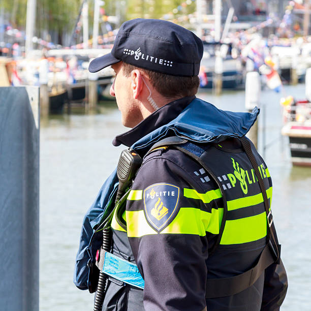Policeman guarding stock photo