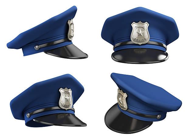 Chapeau de divers angles de police 3d illustration - Photo