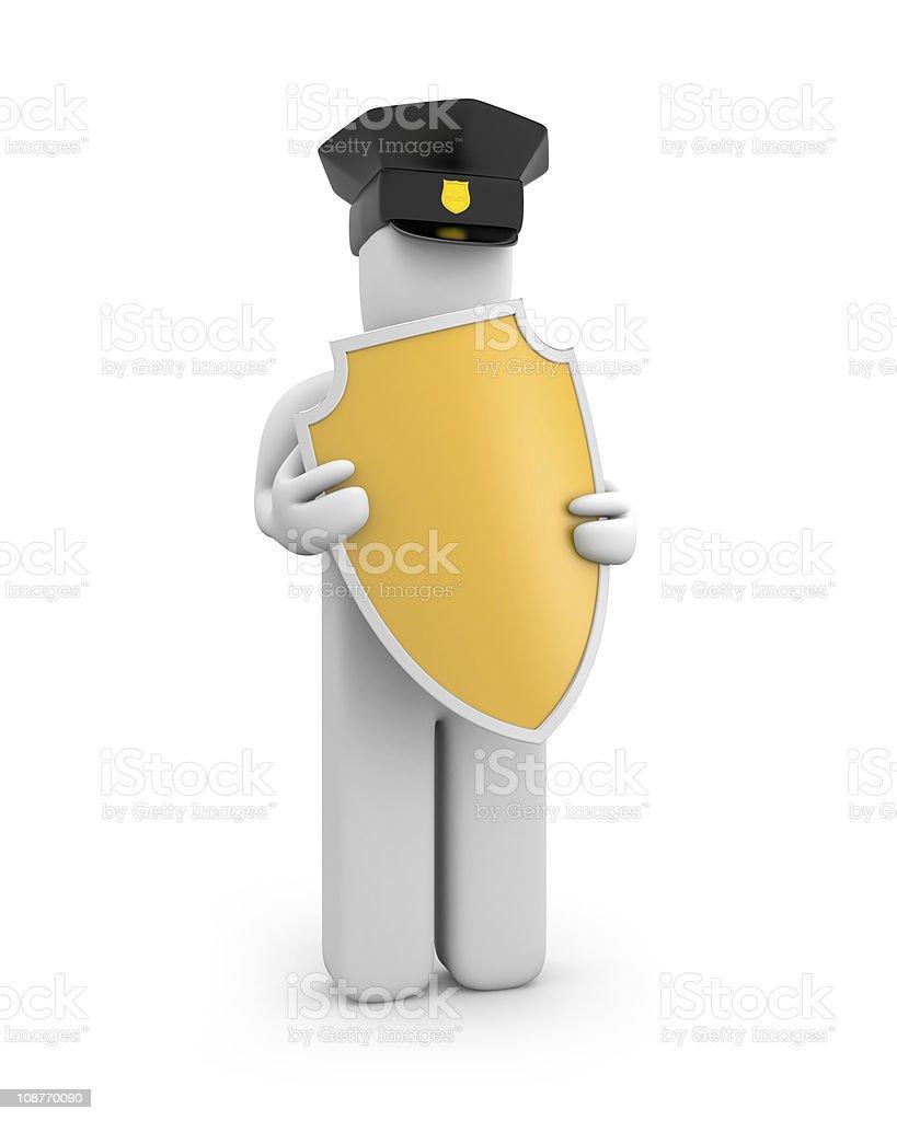 Policeman hold shield royalty-free stock photo