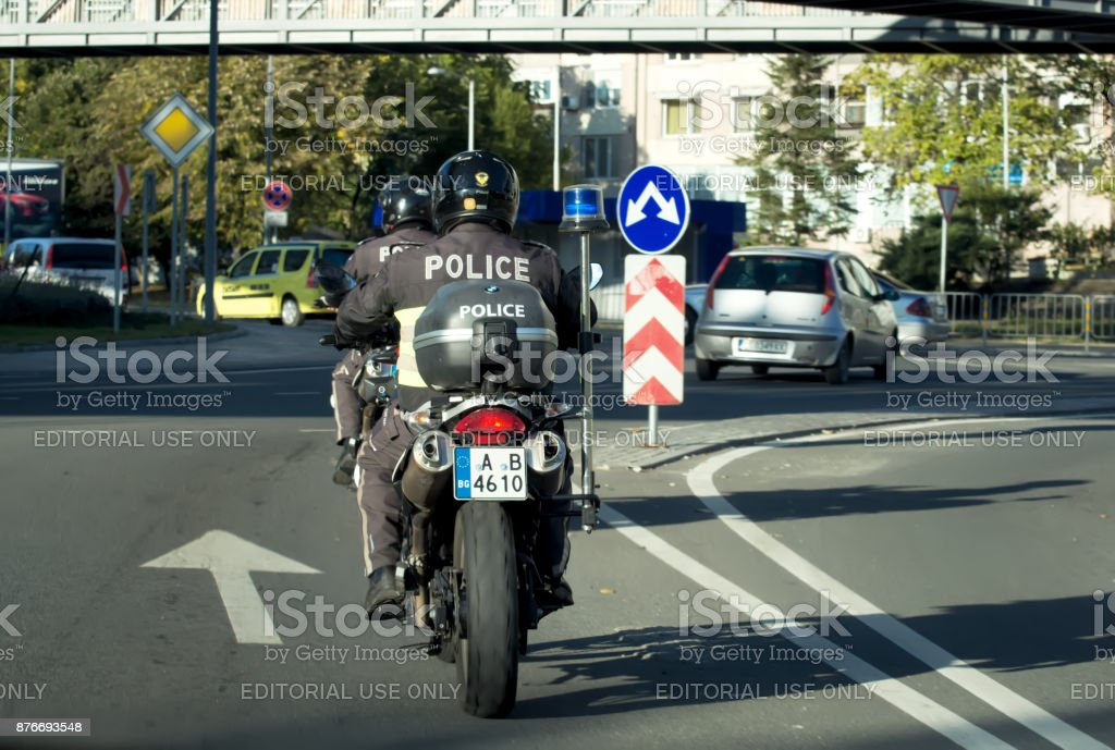 BURGAS, BULGARIA - October 10, 2017:  policeman on a motorcycle stock photo