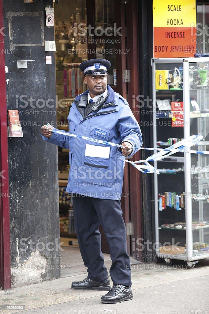 Policeman de prestaciones - foto de stock