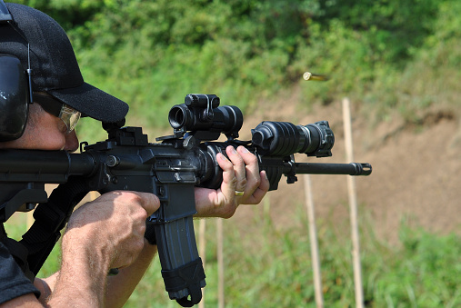 A Policeman Undertaking Rifle Training Stock Photo - Download Image Now