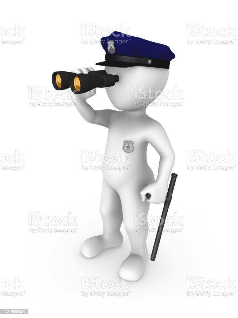 Policeman with binoculars. 3d rendered illustration. stock photo