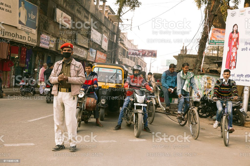 Policeman with  protective mask in India stock photo