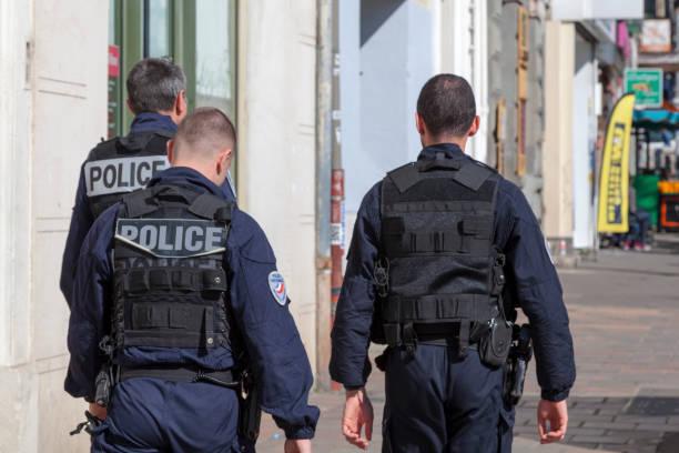 Policemen in bulletproof vest in Marseille stock photo