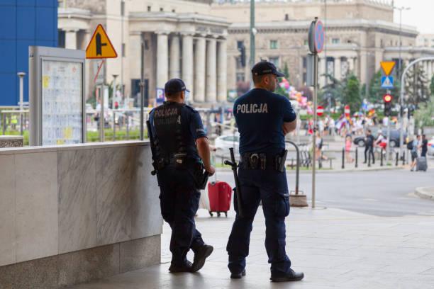 Policemen in Warsaw stock photo