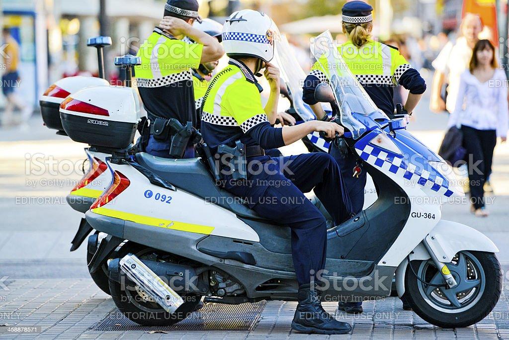 Policemen on motorcycles, Barcelona stock photo