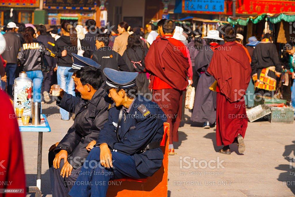Policemen Security Watching Barkhor Lhasa Tibet stock photo