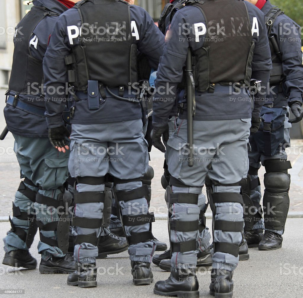 policemen with bullet-proof jacket and the baton stock photo