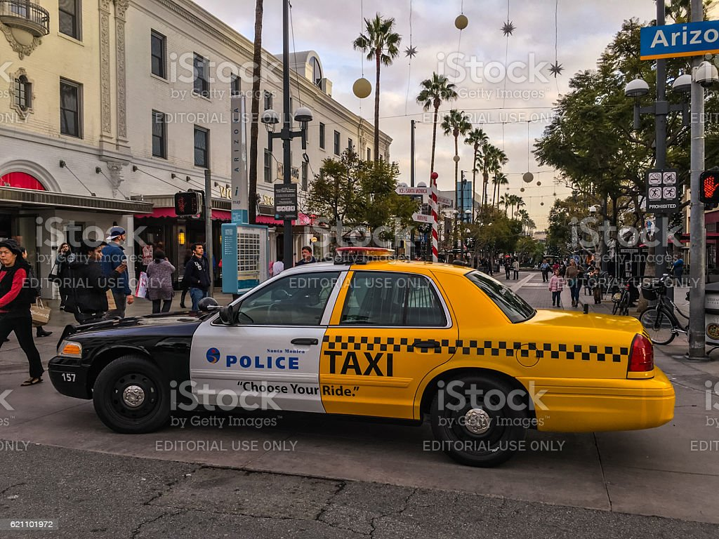Policetaxi Car Parked In Santa Monica Downtown Usa Stock