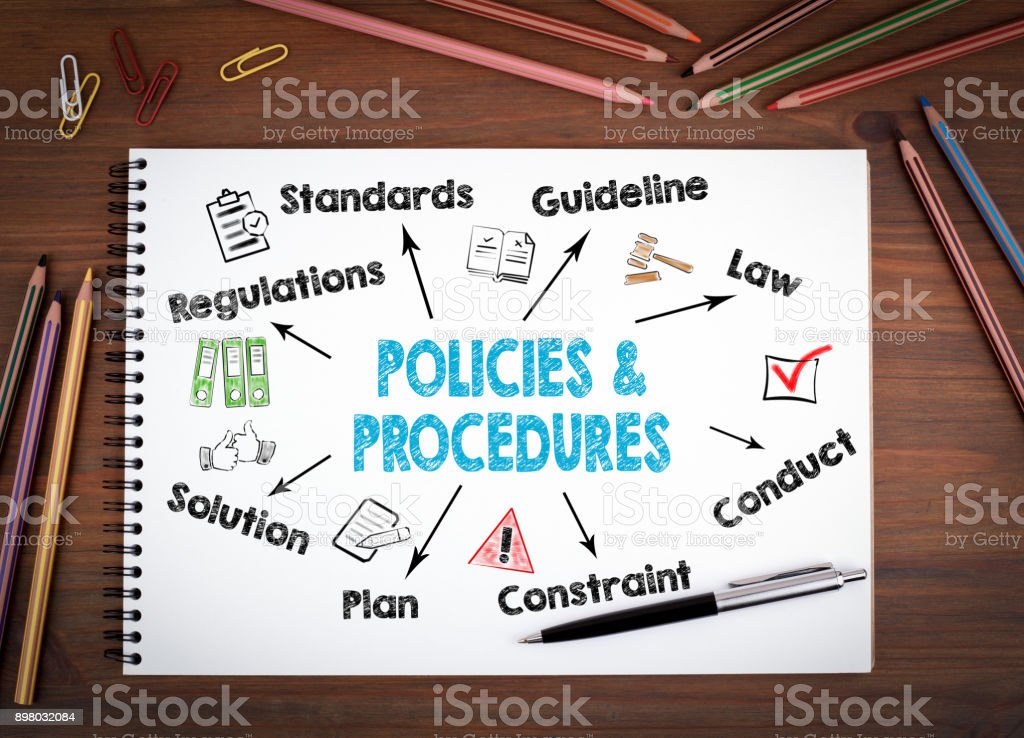 policies and procedures, Business Concept. Notebooks, pen and colored pencils on a wooden table stock photo
