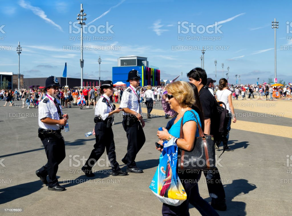 Policing the crowds in London's Olympic Park royalty-free stock photo
