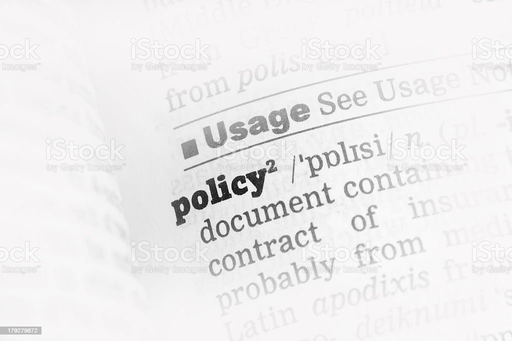 Policy  Dictionary Definition royalty-free stock photo