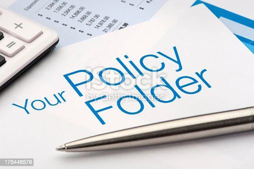 Policy Folder for insurance documents with pen