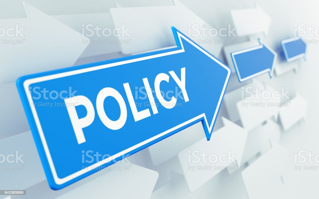Policy Text On Blue Directional Sign stock photo