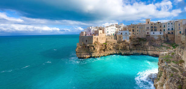 Polignano a Mare (BA, Italy): heaven on earth panorama view stock photo