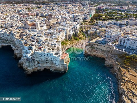 Aerial view of Polignano a Mare town and beach in Bari Province, Puglia, Italy