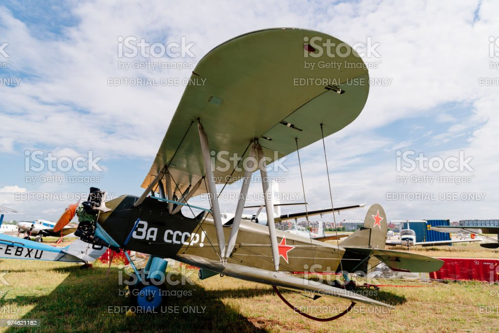 Polikarpov Po 2 Russian Aircraft during air show stock photo