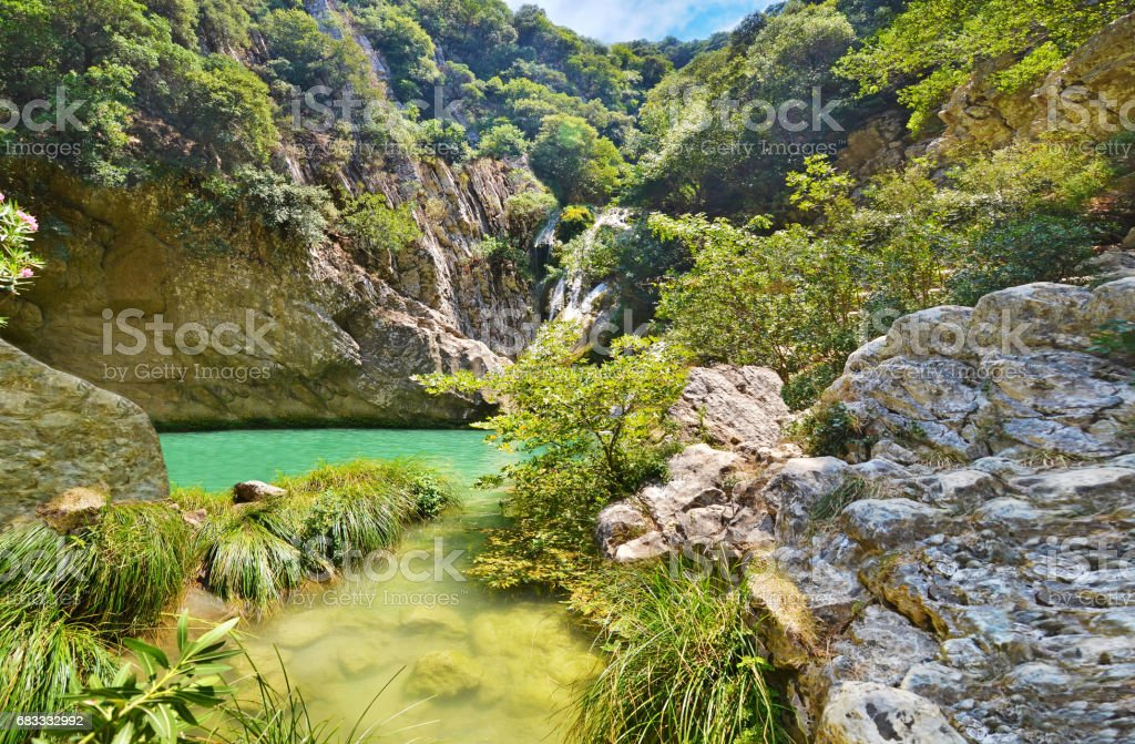 Polilimnio waterfalls Peloponnese Greece royalty-free stock photo