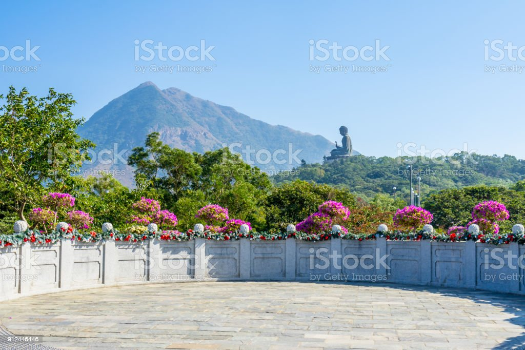 Polin temple with Buddha image in Hong Kong stock photo