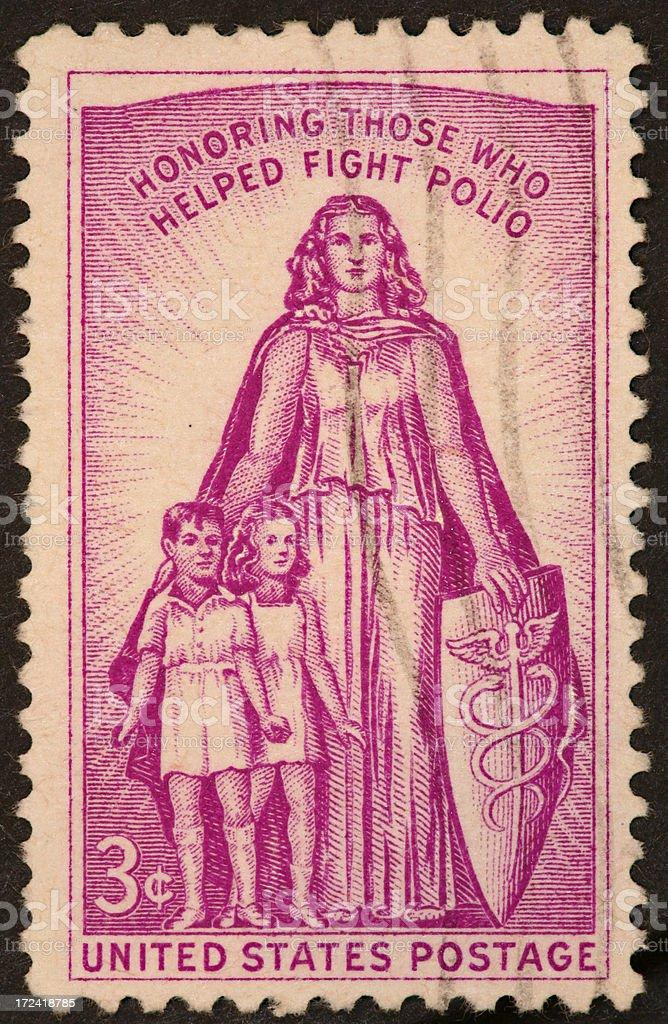 polio stamp 1957 stock photo