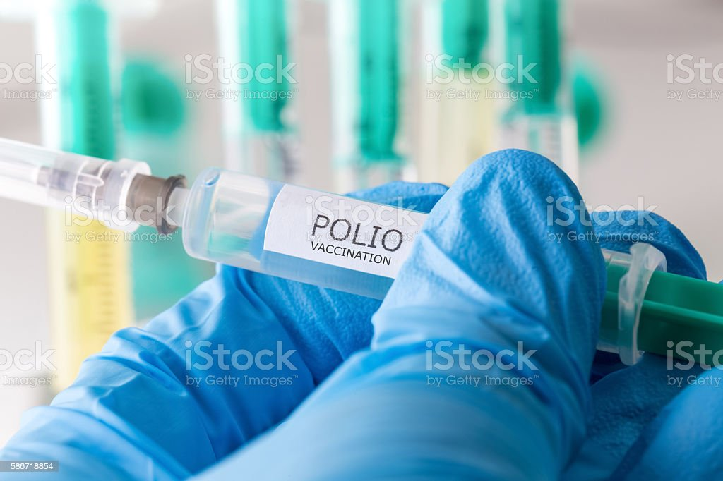 polio vaccination stock photo