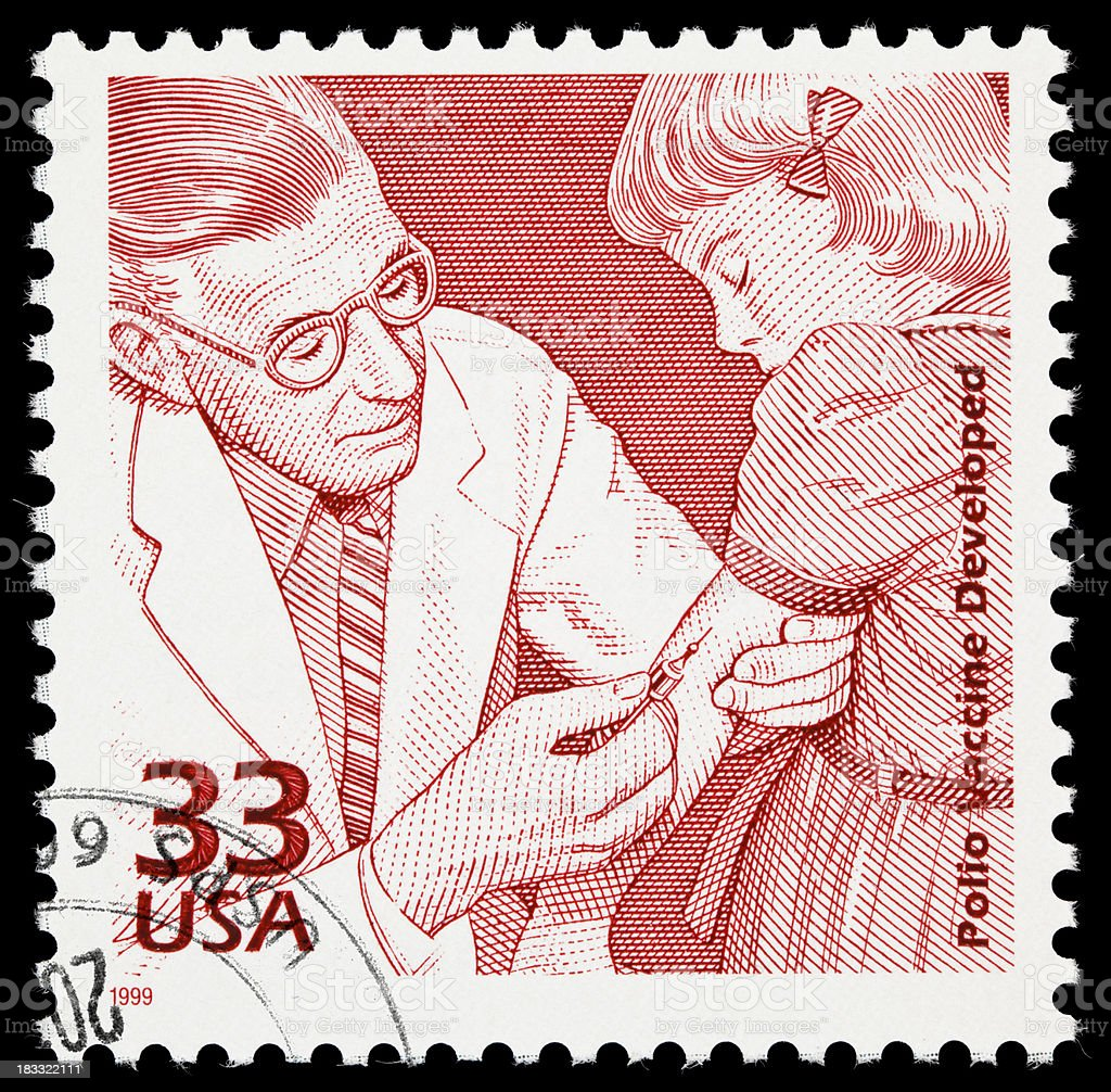 Polio vaccine postage stamp stock photo