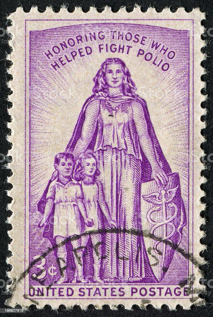 Polio Vaccine Stamp stock photo