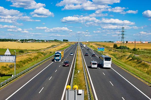 Polish A4 motorway near Gliwice stock photo