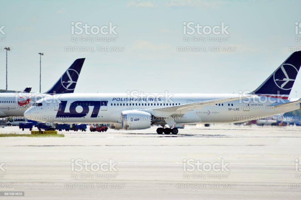 SP-LRE LOT - Polish Airlines Boeing 787-8 Dreamliner preparing to take off. stock photo