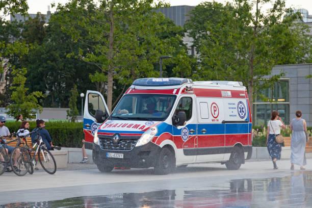 Polish ambulance stock photo