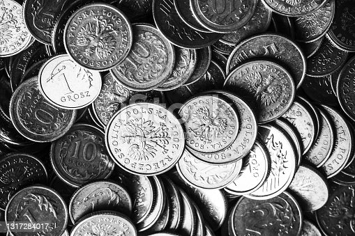 istock Polish currency background. Cent in Poland is called grosz. Cash money texture. 1317284017