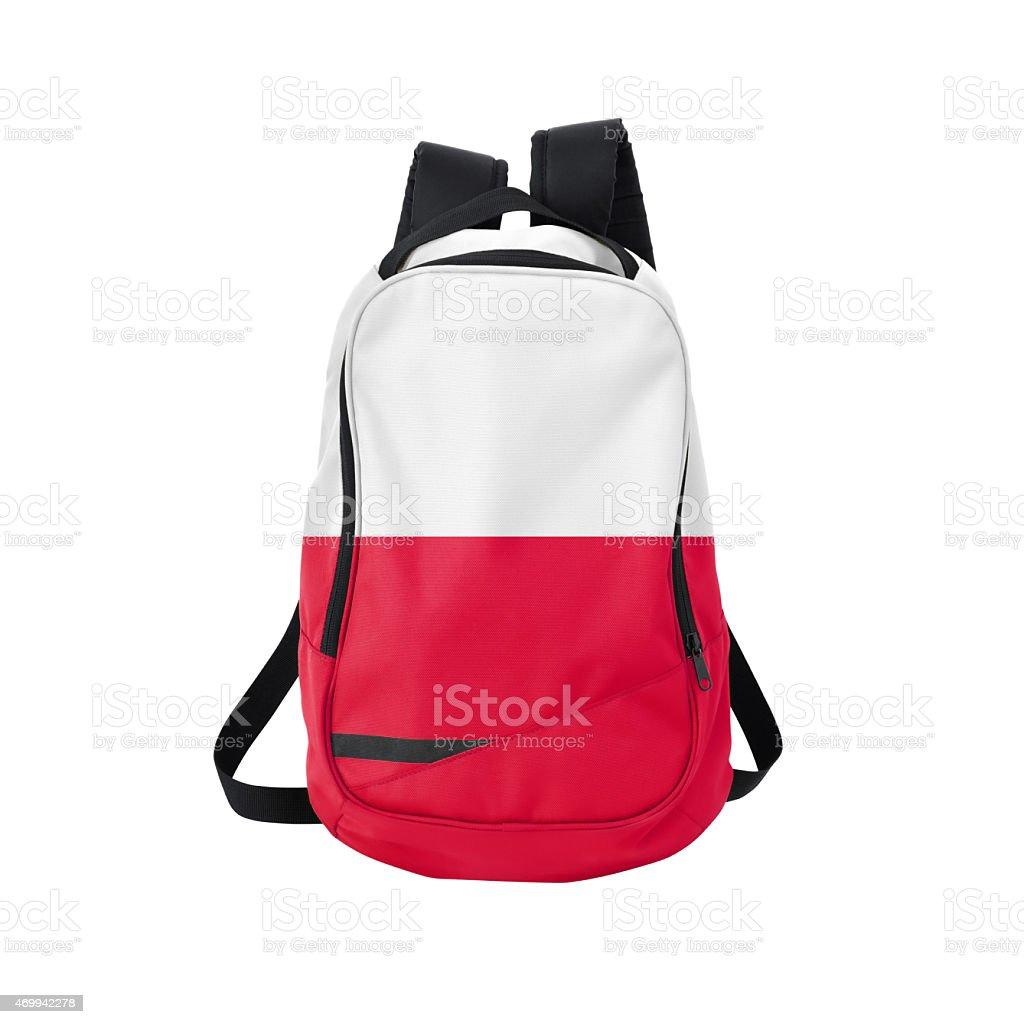 Polish flag backpack isolated on white w/ path stock photo