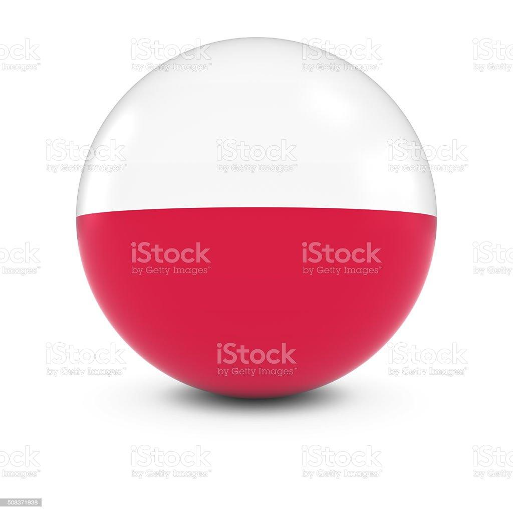 Polish Flag Ball - Flag of Poland on Isolated Sphere stock photo