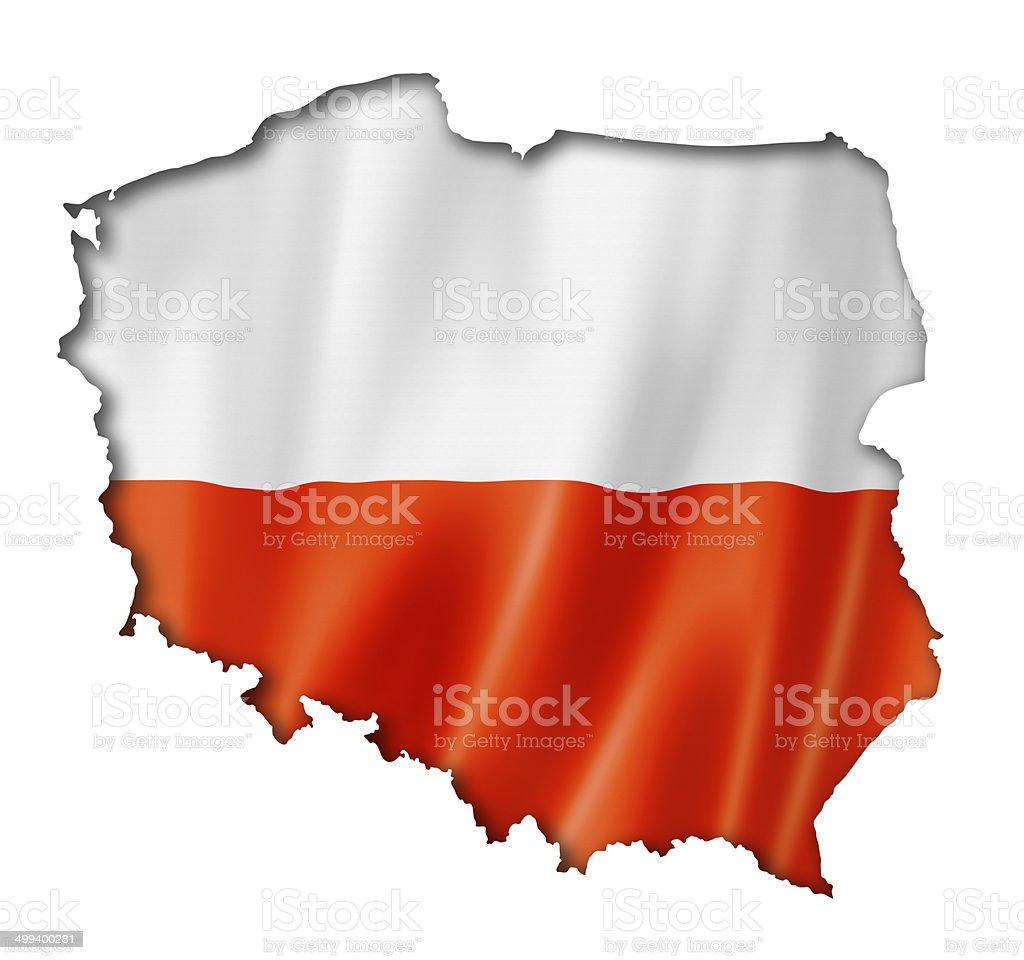 Polish flag map stock photo
