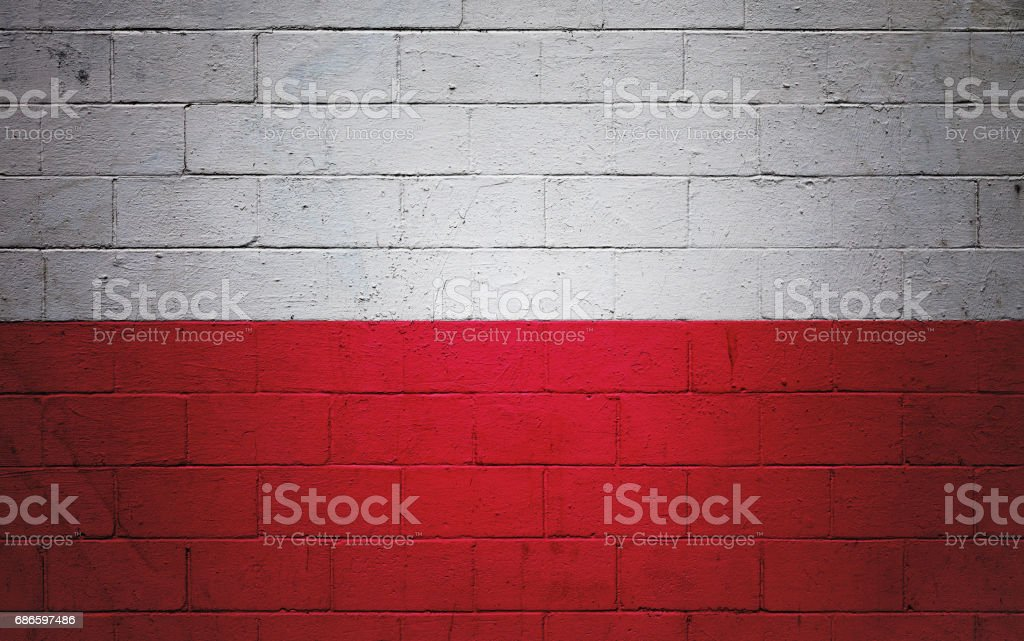 Polish flag painted on a wall royalty-free stock photo