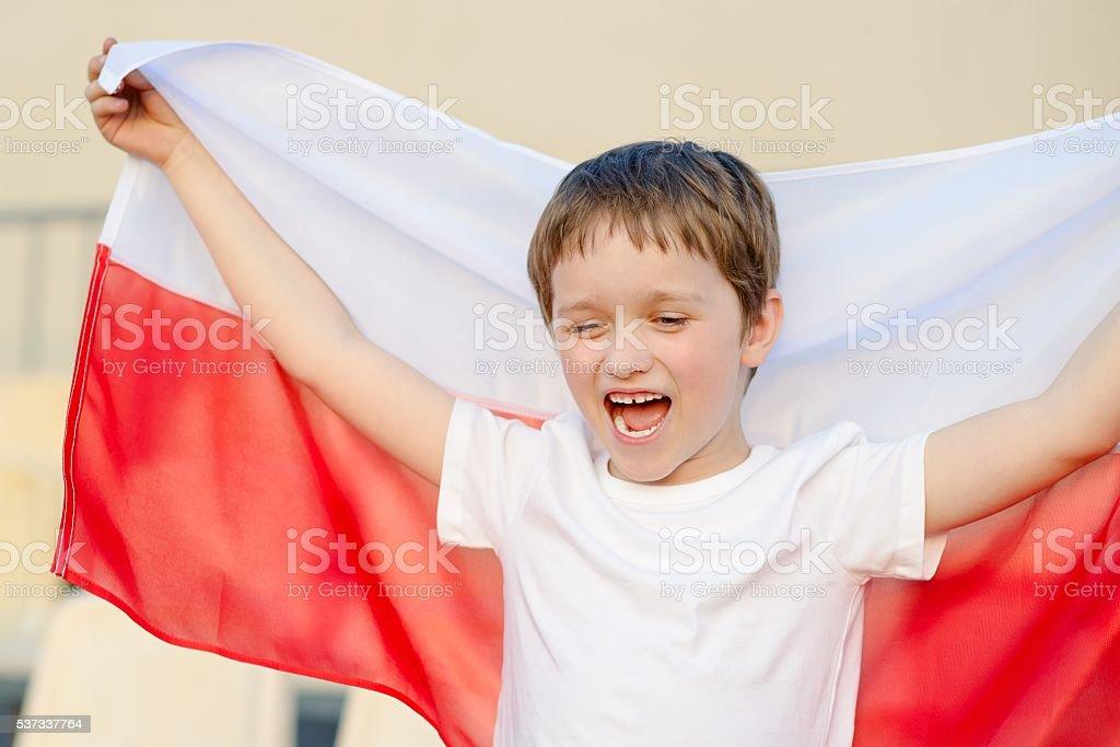 Polish football fan - little boy stock photo
