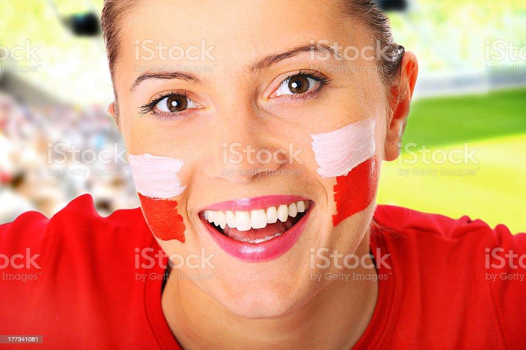 Polish football fan stock photo