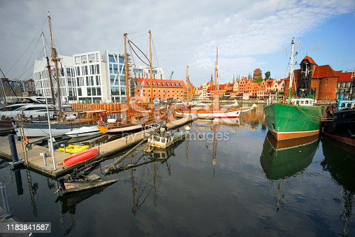 Gdansk in Poland and its embankment - port and marina with modern and old ships, motor and sailing, expensive and cheap