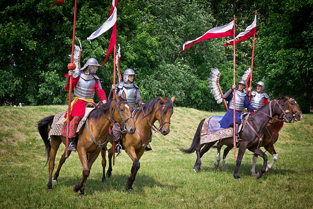 polish hussars - knight on horse stock photos and pictures