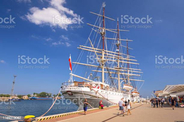 Polish maritime museum ship Dar Pomorza at the Baltic Sea in Gdynia. This Polish sailing frigate was built in 1909 and served as a sail training ship.