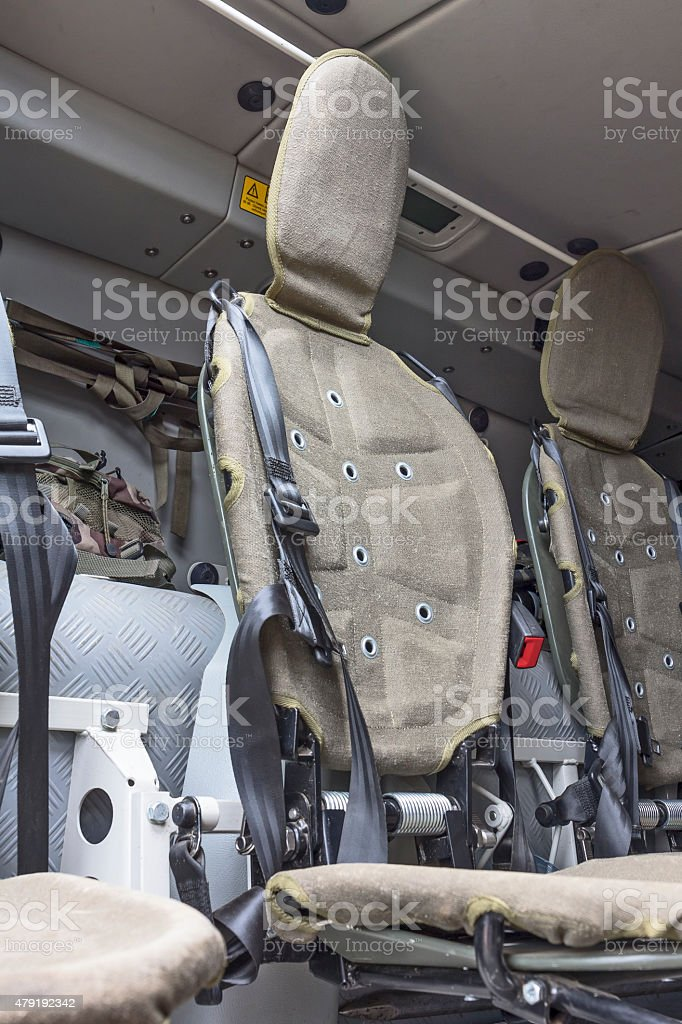 Interior compartment to transport soldiers in the Polish military...