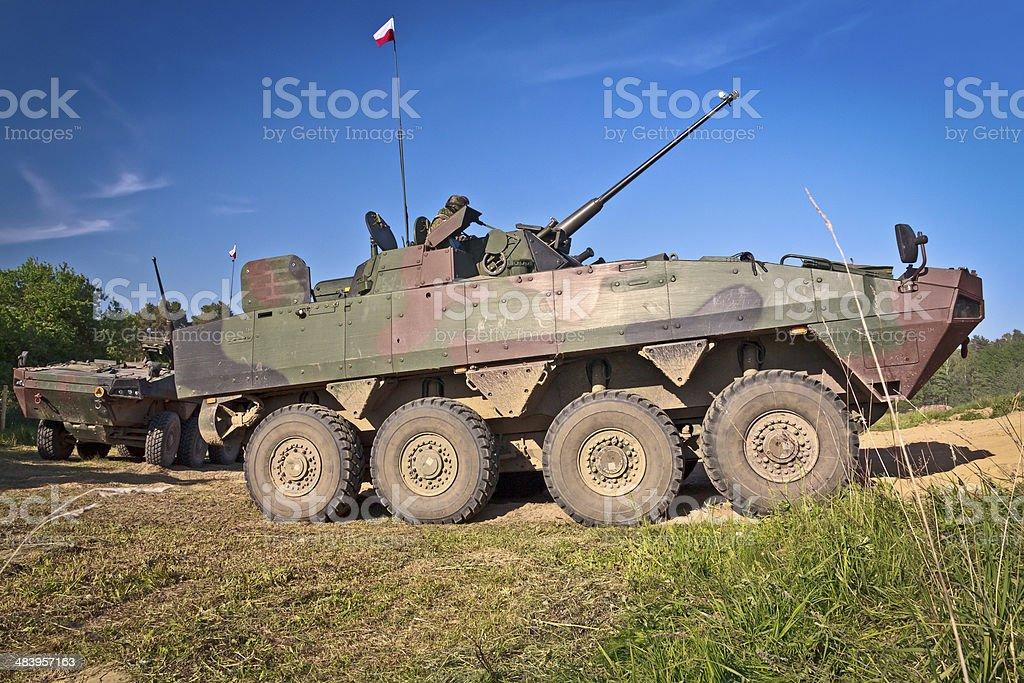 Polish military battlefield transport vehicle stock photo