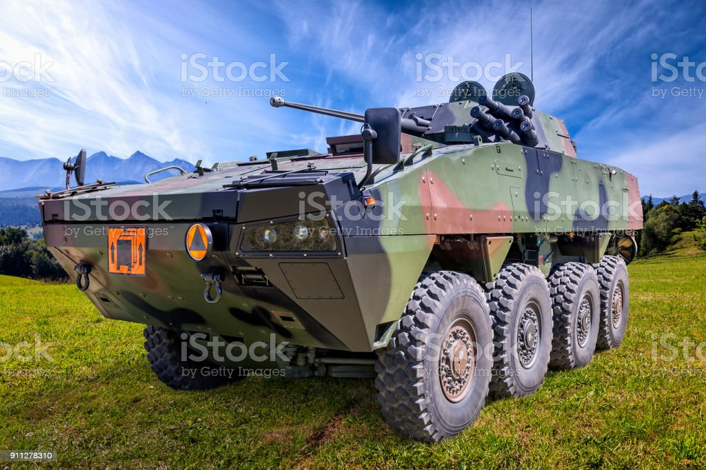 Polish military battlefield transport vehicle stock photo