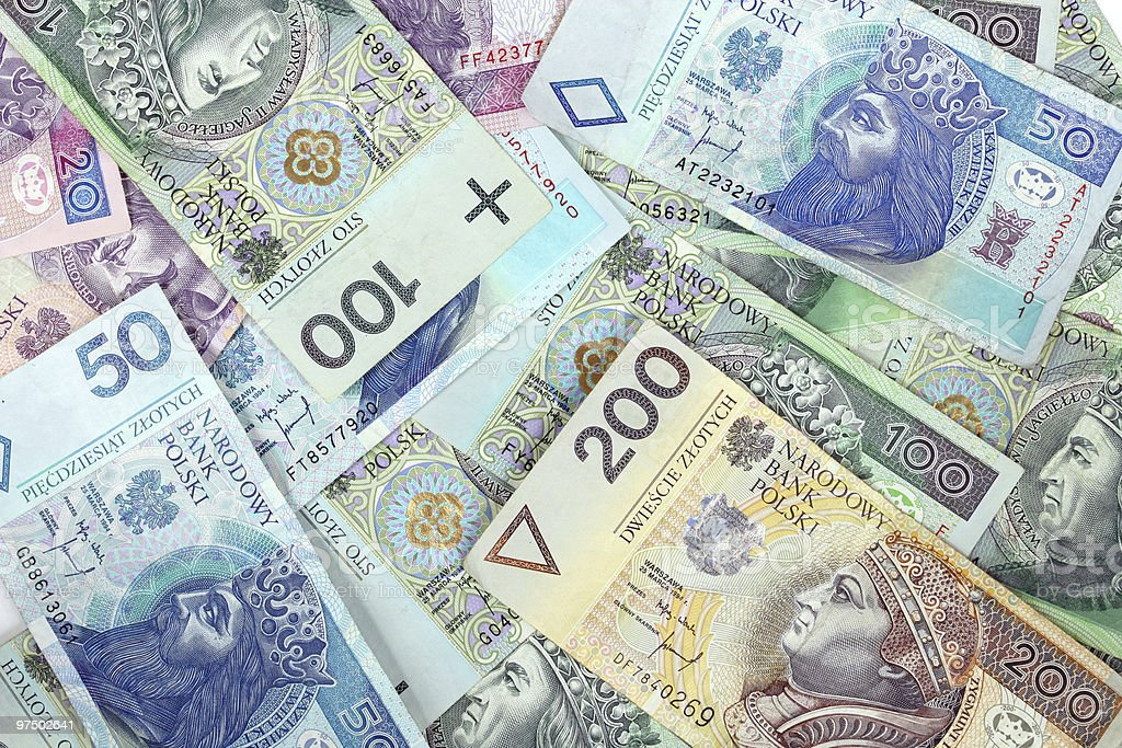 Polish money in paper form with bills royalty-free stock photo