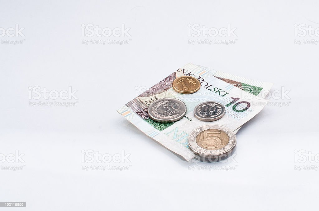 Polish money- ten zloty note and some coins stock photo