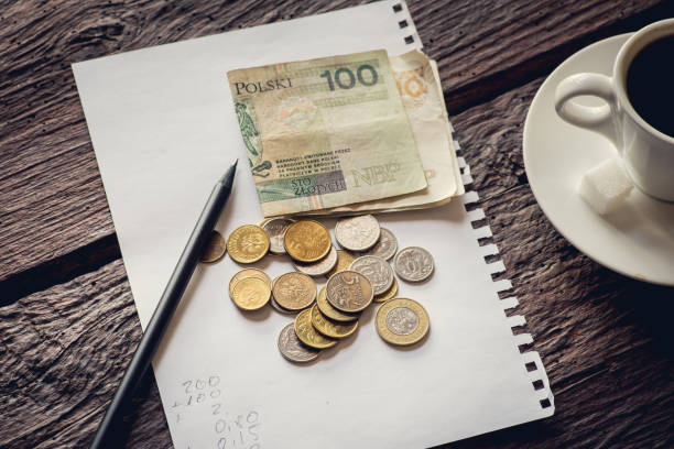 Polish notes and coins stock photo