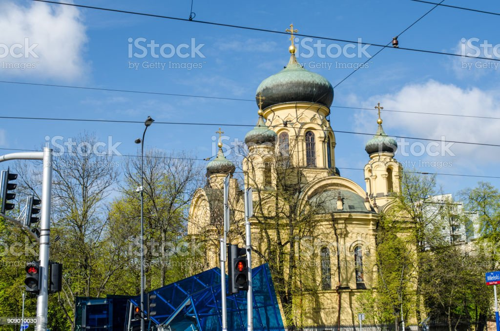 Polish Orthodox Cathedral in Warsaw stock photo